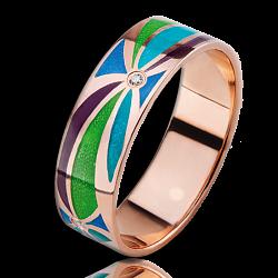 Золотое кольцо Волшебная страна с эмалью и бриллиантами женское 000018668