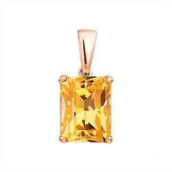 Кулон из красного золота с цитрином 000132379