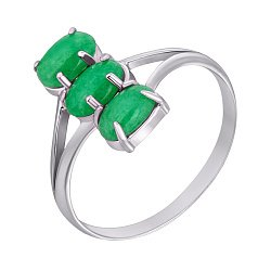 Серебряное кольцо Три кабошона с хризопразами