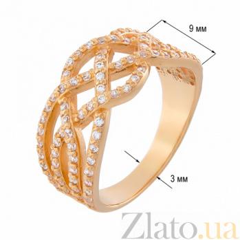 Золотое кольцо Ирэна в красном цвете с фианитами 12290