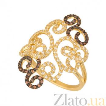 Кольцо из желтого золота Арабеска с цирконием VLT--ТТТ1205