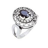 Кольцо серебряное Флоренция с черным цирконием
