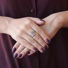 Серебряное кольцо-завиток Пёрышко с чернением