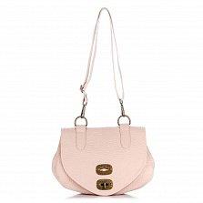 Кожаная сумка на каждый день Genuine Leather 8618 розового цвета с клапаном на механическом замке