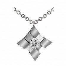 Золотой кулон Ромбино в белом цвете с бриллиантом