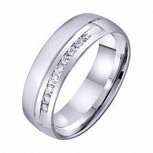 Обручальное кольцо из белого золота Искренние чувства с цирконием