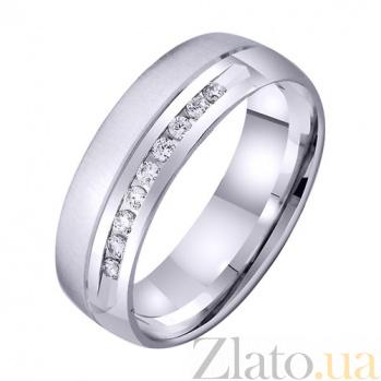 Обручальное кольцо из белого золота Искренние чувства с цирконием TRF--4221009