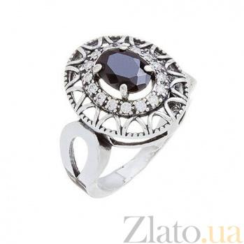 Кольцо серебряное с черным цирконом AQA--71550ч*
