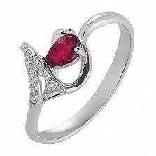 Серебряное кольцо Илона с рубином и фианитами