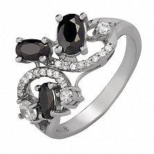 Серебряное кольцо Богемия с черными и белыми фианитами