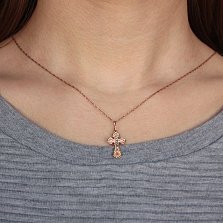 Золотой крестик Спаситель в комбинированном цвете