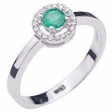 Золотое кольцо Ирен с изумрудом и бриллиантами