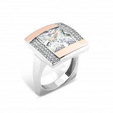 Серебряное кольцо Афина с золотыми накладками и фианитами