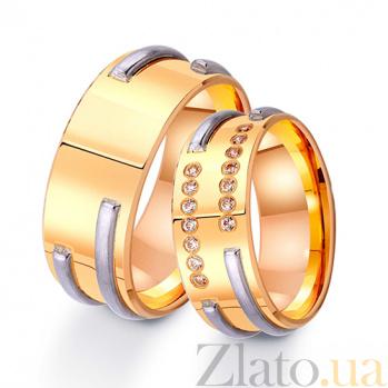 Золотое обручальное кольцо В объятиях любви с цирконием TRF--422695