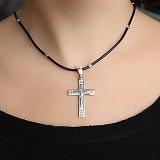 Серебряный крест с белой эмалью Добрая душа