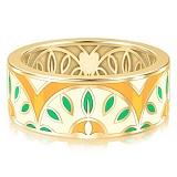 Обручальное кольцо из желтого золота с эмалью Талисман: Мира