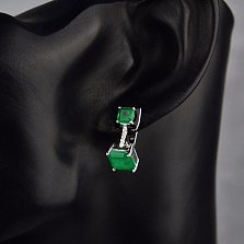 Серебряные серьги Белинда с черной эмалью, зелеными и белыми фианитами
