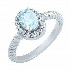 Серебряное кольцо Эвридика с топазом и фианитами