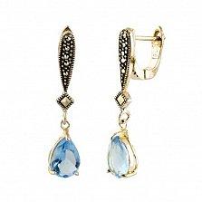 Серебряные серьги-подвески Настасья с марказитом и голубым цирконием