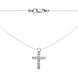 Колье на силиконовой нити с подвеской из серебра в форме крестика с фианитами 000117968