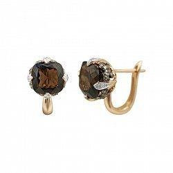 Серьги из красного золота Ширли с коньячными бриллиантами и раухтопазом