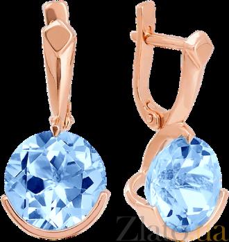 Золотые серьги с голубым топазом Клэр 000029224