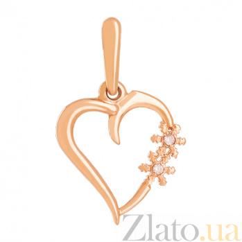 Золотой подвес с фианитами Биение сердца 000024304
