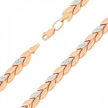 Золотой браслет в комбинированном цвете в ролексовом плетении 000123147