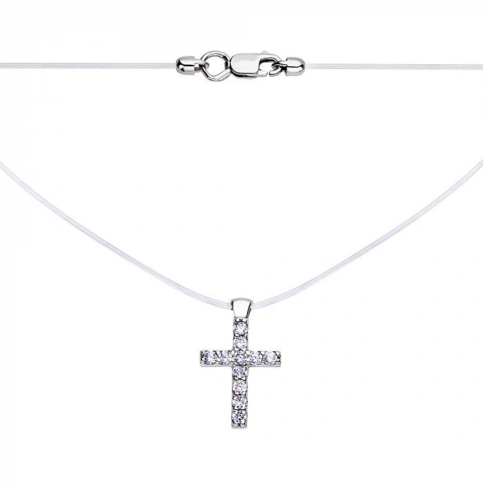 Колье на силиконовой нити с подвеской из серебра в форме крестика с фианитами 000117968 000117968