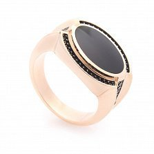 Перстень-печатка из красного золота Люпэн с черным ониксом и черными фианитами