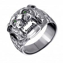 Серебряное кольцо Сила тигра с зелеными нанокристаллами