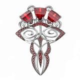 Серебряная брошь Влечение с красными фианитами и жемчугом