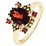 Золотое кольцо Мирра с гранатом и разноцветными сапфирами
