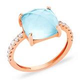 Золотое кольцо с голубым кварцем и фианитами Лагуна