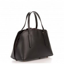 Миниатюрная кожаная сумка Genuine Leather 8672 черного цвета на кулиске, с металлическими ножками