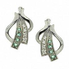 Серебряные сережки Августа с бриллиантами и изумрудами