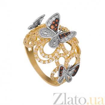 Кольцо из желтого и белого золота Полет бабочек с фианитами VLT--ТТТ1144