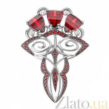 Серебряная брошь Влечение с красными фианитами и жемчугом TNG--660068С кр