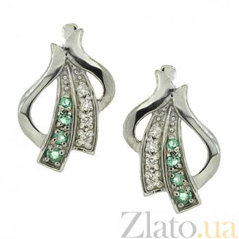 Серебряные сережки Августа с бриллиантами и изумрудами 000035617