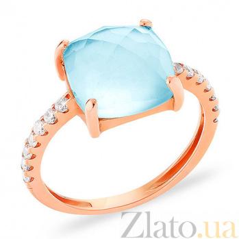 Золотое кольцо с голубым кварцем и фианитами Лагуна SUF--151912