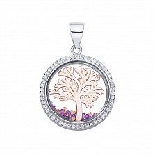 Серебряный кулон Сакура с позолотой, ювелирным стеклом и разноцветными фианитами