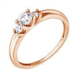 Золотое кольцо с цирконием Swarovski 000061554