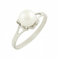 Серебряное кольцо с жемчугом и фианитами Эвелина