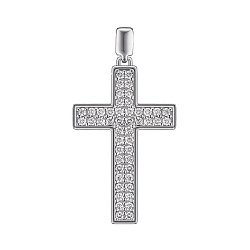 Крестик из белого золота с 48 бриллиантами 0.67ct 000145324