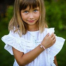 Детский плетеный браслет Грациозный лебедь с эмалью и фианитами 14-9см