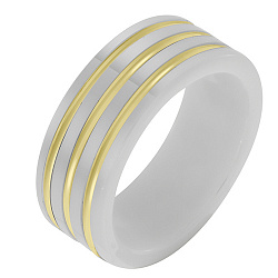 Керамическое кольцо Стильный образ со вставками желтого золота 000032775