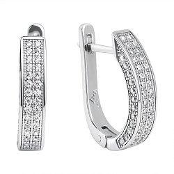 Серебряные серьги Кассандра с дорожками из фианитов