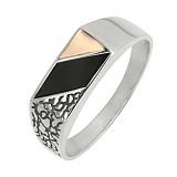 Серебряное кольцо с золотой вставкой и ониксом Техас