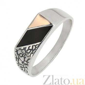 Серебряное кольцо-печатка с золотой вставкой и ониксом Техас BGS--537к
