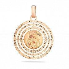 Золотая ладанка Образ Богоматери Владимирской с эмалью